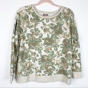 J. Jill Rose Print Crew Neck Long Sleeve Sweater S